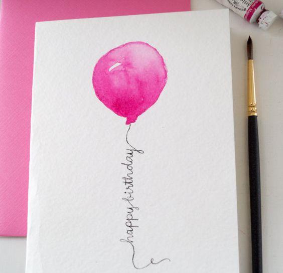 "Original Hand painted ""Happy Birthday"" Watercolor Card, Balloon Design, Hot Pink"