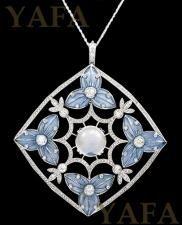 Platinum Diamond and Moonstone Pendant/Necklace