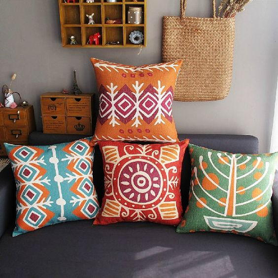 Bohemian style linen Pillow cover/Decorative throw by sunnybeauty, $17.20