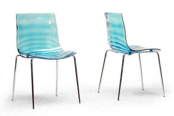 Watery Look Side Chair Pair