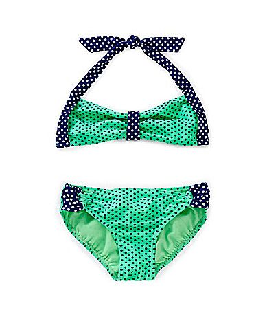 GB Girls 716 Dotted Bralette and LoopSide Bottom #Dillards