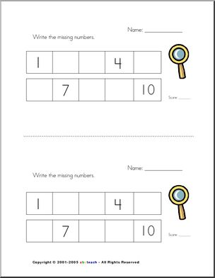 math worksheet : counting missing number  find the missing number from 1 10  : Kg 1 Maths Worksheets