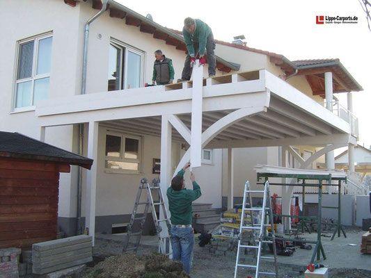 Balkon Carports Mit Terrasse Carports Holz Stahl Alu In 2020 Balkon Bausatz Carports Carport Holz