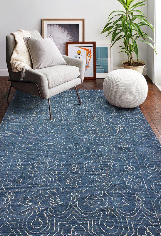 Omar Deep Blue Tufted Wool Area Rug Living Room Area Rugs Blue Rug Living Blue Area Rugs