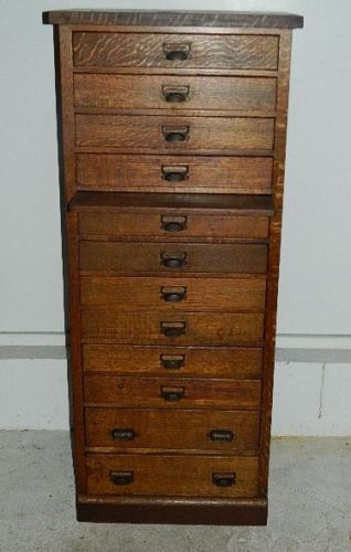 Antique Oak 12 Drawer Map Chest Jeweler Watchmaker Cabinet