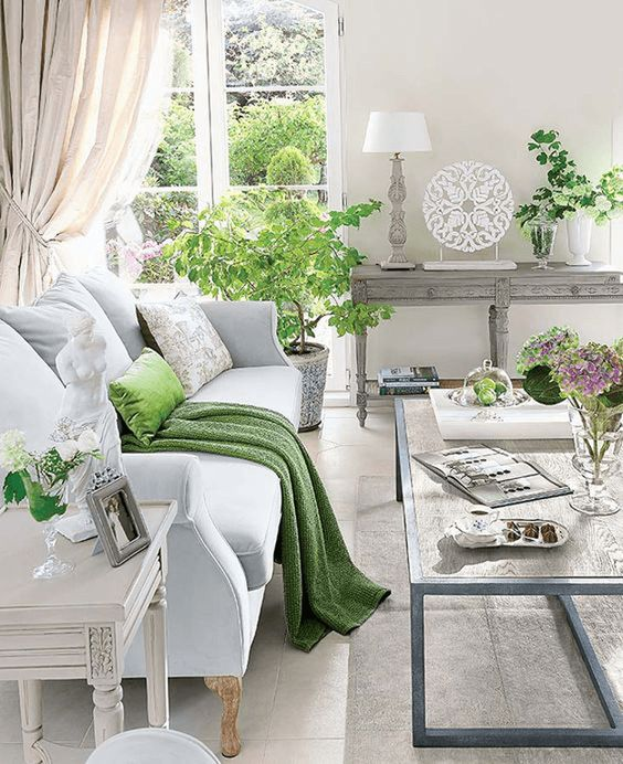 white traditional living room with lime green accents, silver accents, pantone greenery, lime green, spring green, apple green, bright green:
