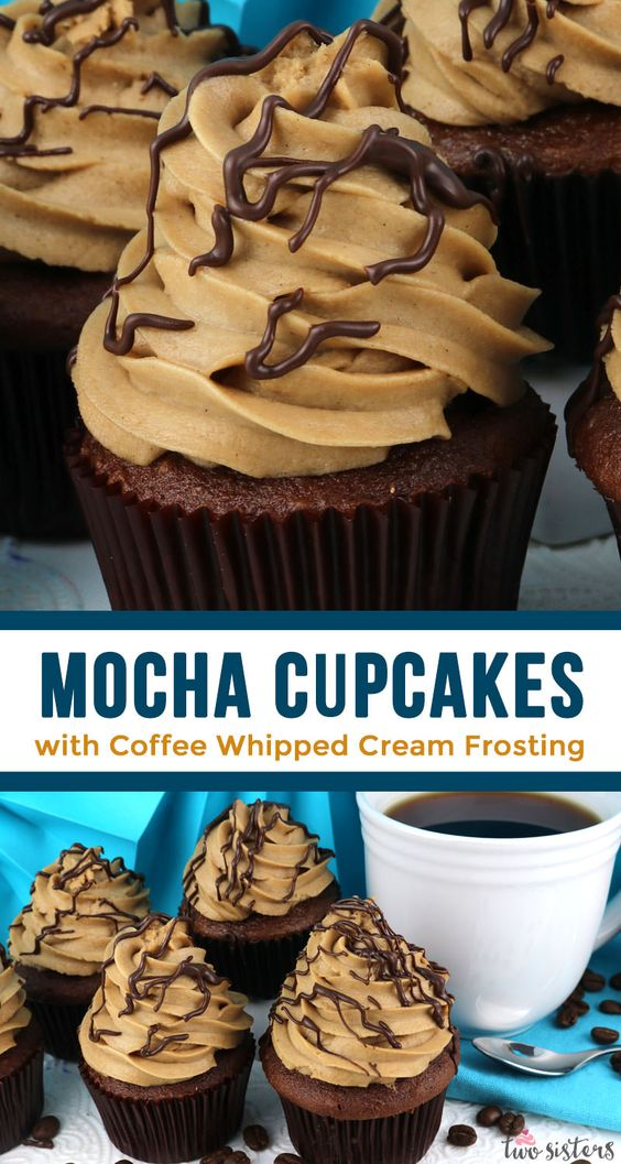 Mocha Cupcakes with Coffee Whipped Cream Frosting