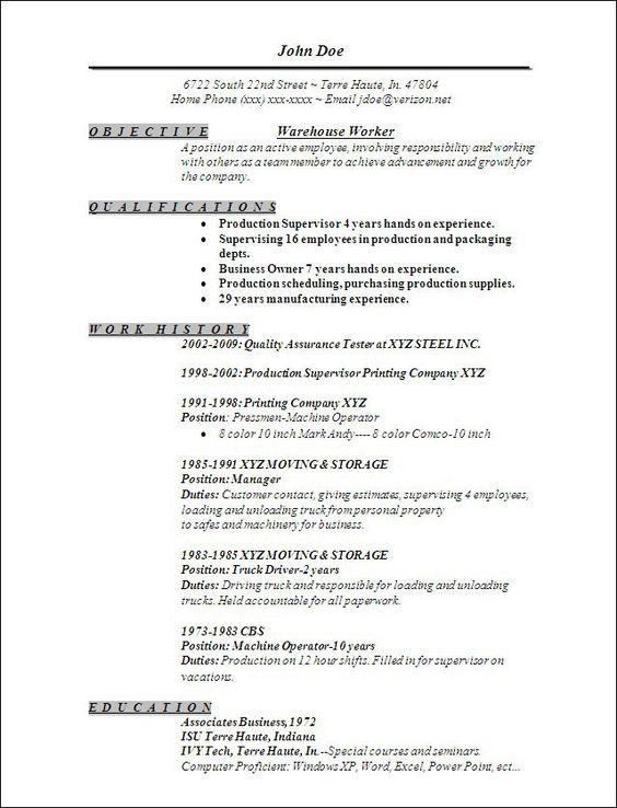 linda fyke (lindafyke) on Pinterest - warehouse worker job description resume