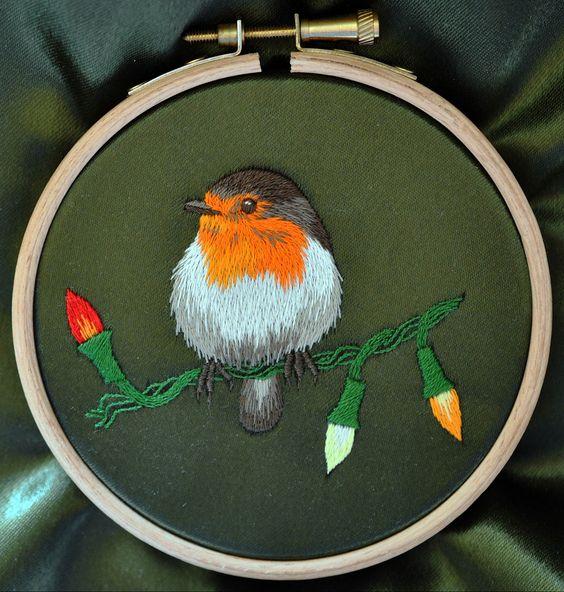 Silk Shading Christmas Robin