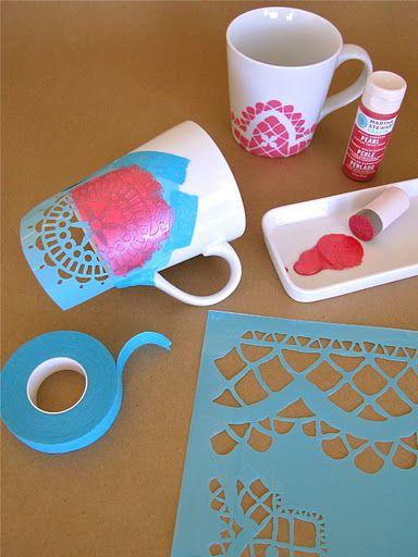 ♥ this...  Stencil Mugs