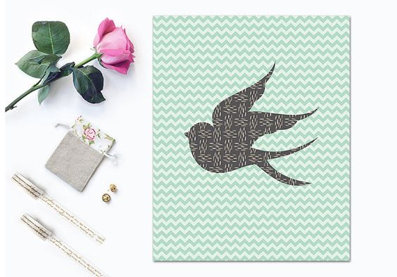 Sparrow Printable Art Print Mint Green and Gray Nursery Print Bird Poster Instant Download Digital File