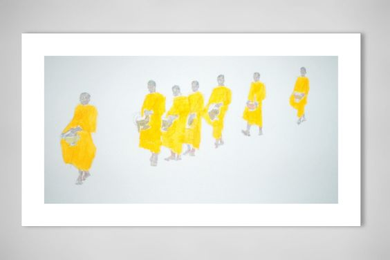 "Saatchi Online Artist: Daniel Sewell; Acrylic, 2011, Painting ""Monks Receiving Alms"""