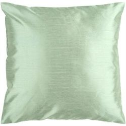 Shiny Solid Silver Seafoam Decorative Throw Pillow