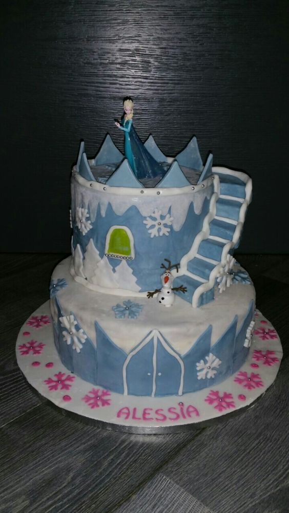 Pasta di zucchero - torta frozen scale sospese
