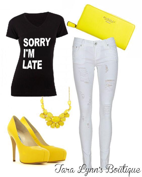 Sorry I'm Late Tee outfit idea
