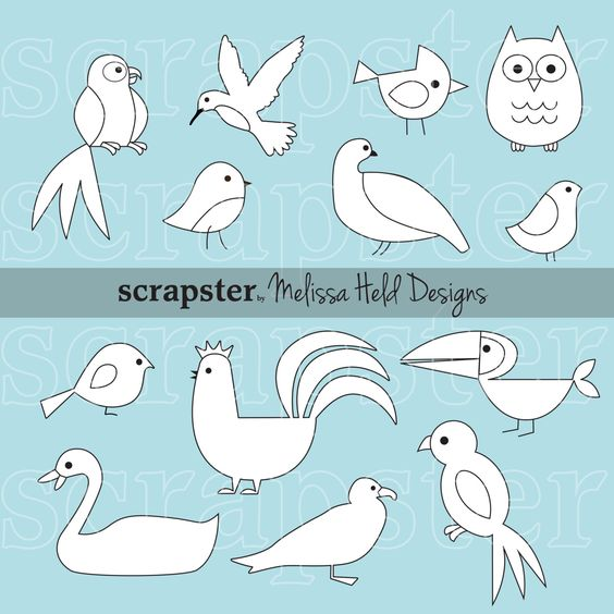 Birds Outlines Clipart by ScrapsterbyMHdesigns on Etsy