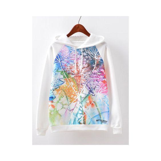 Dandelion Printed Long Sleeve Casual Hooded Women Sweatshirt ($19) ❤ liked on Polyvore featuring tops, hoodies, sweatshirts, white, collared sweatshirt, long sleeve tops, white top, collar top and hooded top