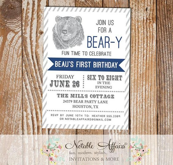 Woodland Rustic Bear Birthday Party invitation by NotableAffairs