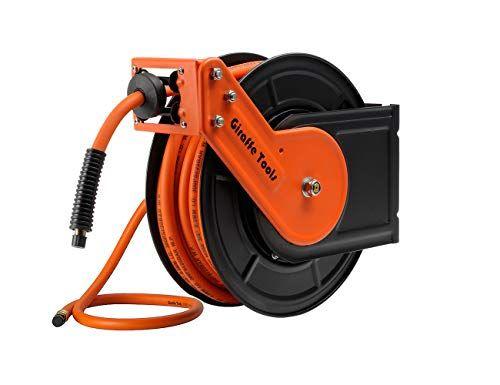 "Retractable Air Compressor Rubber Hose Reel Water Mountable 3//8/"" x 50/' Steel New"