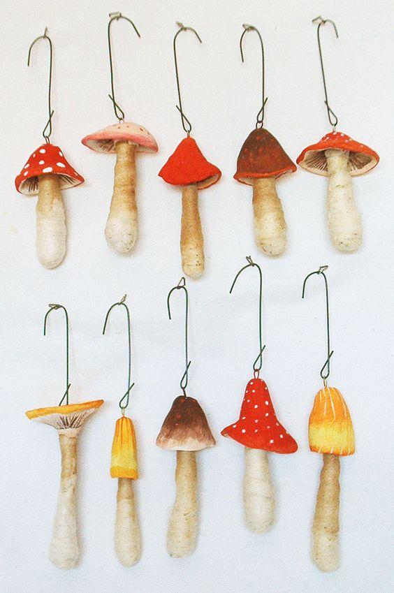 Paper Mache Mushroom Ornaments