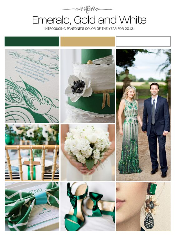 3 Home Decor Trends For Spring Brittany Stager: Emerald, Gold And White Wedding Inspiration Board, Color