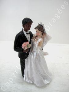 couple mixte femme blanche et homme noir - Figurine Mariage Mixte