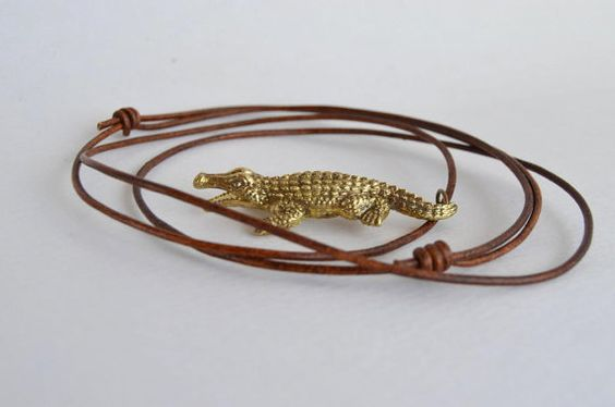 mens necklace alligator man pendant brass crocodile by MyElesi