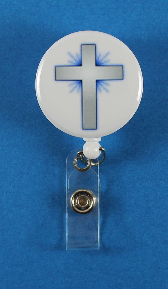Silver and Blue Starburst Cross Button Retractable Badge Reel, ID Badge Holder