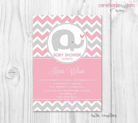 Decoracion Baby Shower Elefantes ~ Ni�a beb� ducha invitaci�n elefante rosado y gris chevron