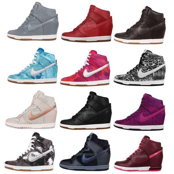 Wmns Nike Dunk Sky Hi / Print NSW Womens Wedge Sneakers Hidden Heel Shoes Pick 1 #Nike #FashionSneakers