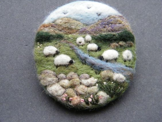 Hand Made Needle Felted Brooch/Gift The Upland Stream by Tracey Dunn
