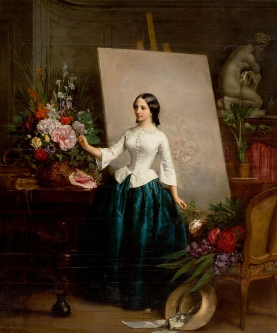 Arranging Flowers (1856) by Jean-Baptiste BERANGER