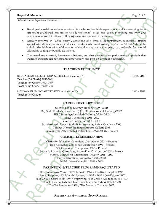 resume assistant principal and principal on pinterest