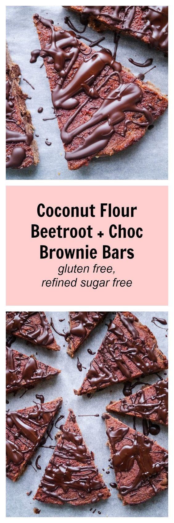 These chocolate brownie bars are made with coconut flour, beetroot and cacao, they are super delicious but also super good for you! High in fibre, gluten free, dairy free and refined sugar free. Amazing!