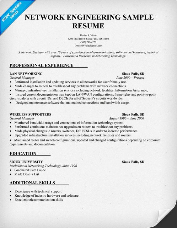 network engineering resume sle resumecompanion