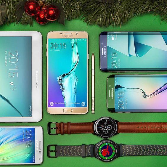 """. Galaxy Family . Galaxy Note 5 Galaxy S 6 edge plus Galaxy S 6 edge Galaxy A 5 Tab S 2 Gear S 2 . . . . AWESOME . . .  برترین هااز برترین برند…"""