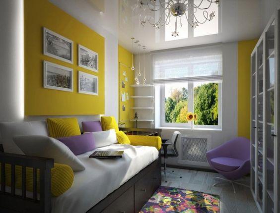 Wandgestaltung Kinderzimmer Lila : wandgestaltung jugendzimmer mädchen lila akzente gelbe wandplatten