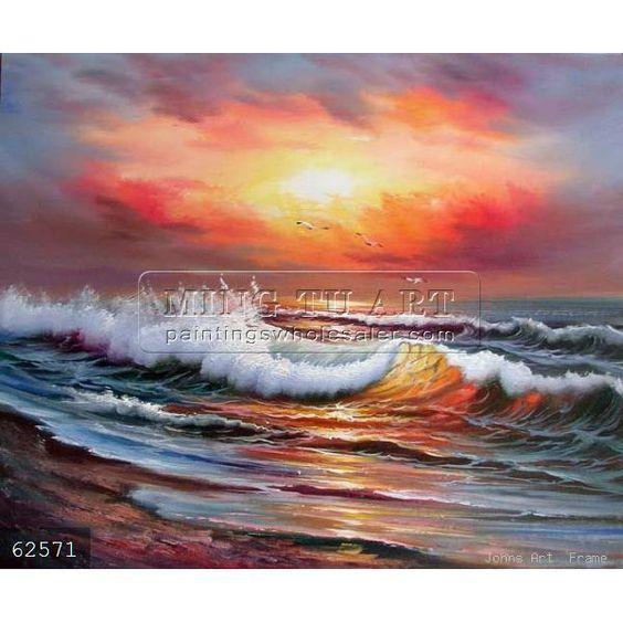 Hechos a mano paisaje pintura al leo sobre lienzo de for Color agua marina pintura