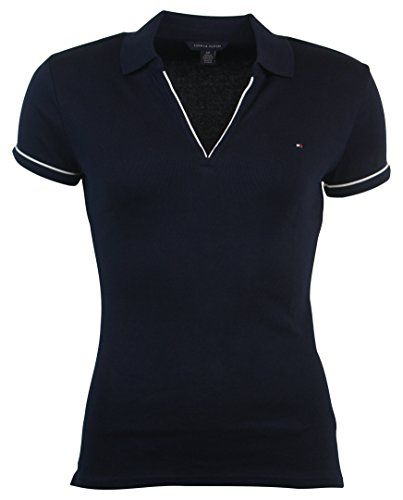Tommy hilfiger womens buttonless logo polo shirt s for Amazon logo polo shirts