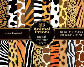 Animal Print Digital Papers 20 Digital Skin Texture Scrapbook Paper Pack DOWNLOAD Printable Zebra Giraffe Cow Leopard Cheetah Tiger 12x12