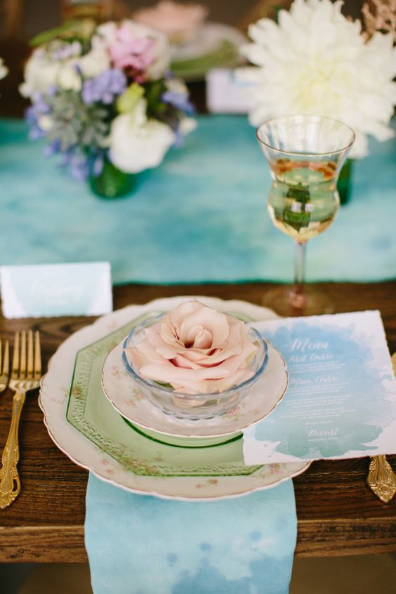 blue and green watercolor table settings wedding decoration idea: