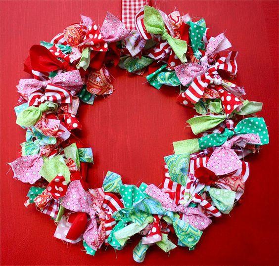 Blukatkraft Easy Diy Scrap Fabric Ribbon Wreath: Wreaths, Scrap And Fabric Scraps On Pinterest
