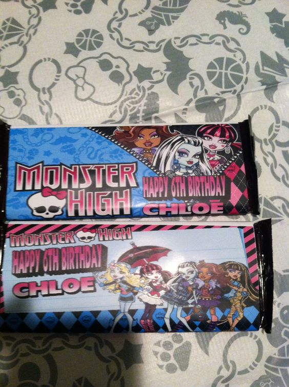 Monster high candy bar wrappers bought off ebay