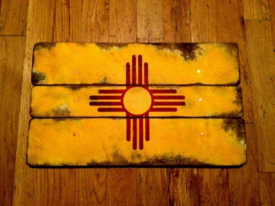 New Mexico Flag Distressed Barn Wood Art