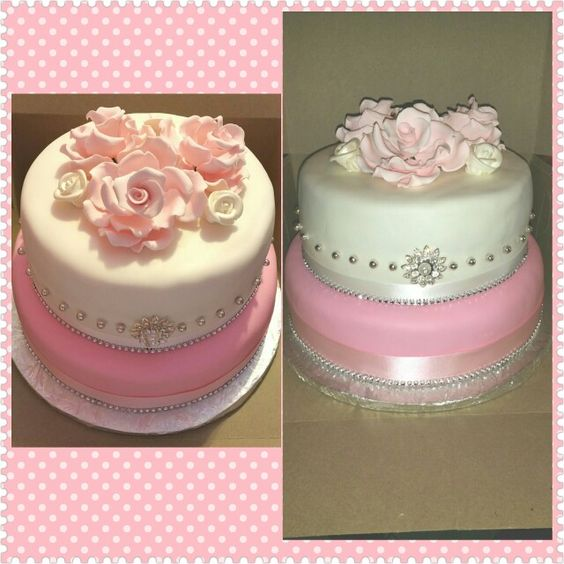 Pink and white cake for ladies
