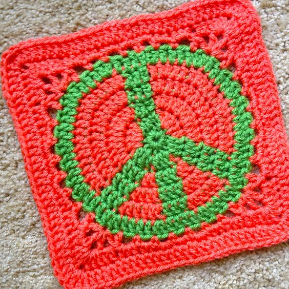 Crochet Pattern Notation : Ravelry: Project Gallery for Peace Sign Granny Square ...