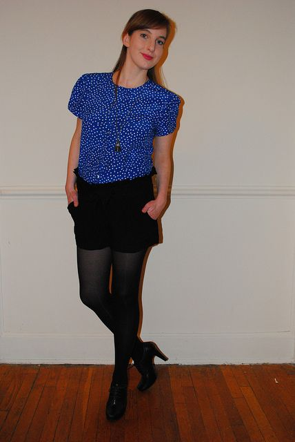 So adorable :)  Top, Vintage Dress Chopped Short, Dillards Tights, Target Heels, Dillards Necklace, Etsy