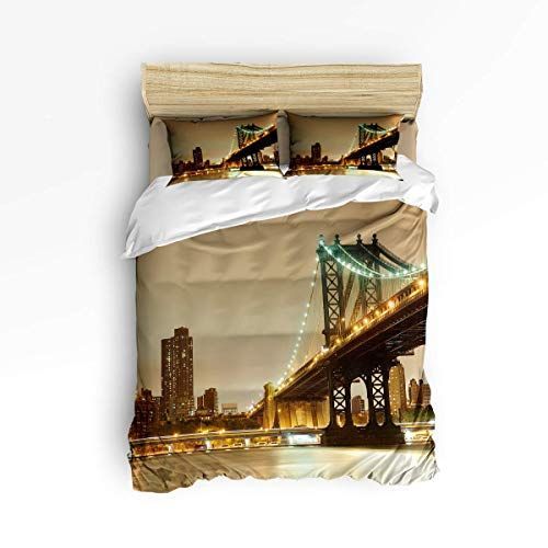Yolika Twin Size 4 Pieces Bed Sheets Set Brooklyn Bridge With Manhattan American York City Night Scene 3d Prin Luxury Bed Sheets Duvet Cover Sets Duvet Covers