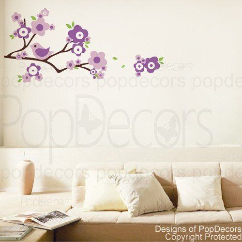Authentic Only from PopDecors Lovely Branch and Birds - nursery playroom vinyl wall art decals stickers murals by Pop Decors, http://www.amazon.com/dp/B0052N5YGA/ref=cm_sw_r_pi_dp_fQS1pb1WMD6KB