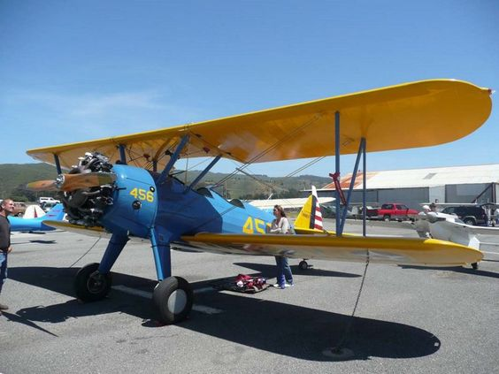 The Stearman (Boeing) Model 75 is a biplane used as a military trainer aircraft